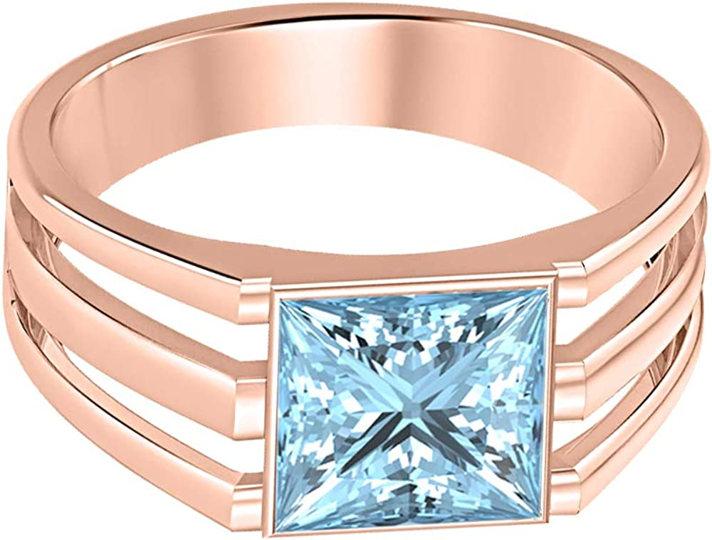 tusakha 14K Rose Gold Over 925 Sterling Silver Solitaire Princess Cut Aquamarine Mens Wedding Band Engagement Ring
