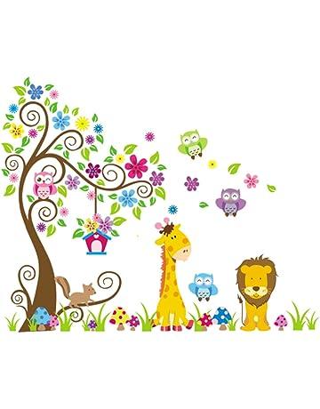 Rainbow Fox Jungle Zoo:Búho sobre el árbol con jirafa y león entre los niños