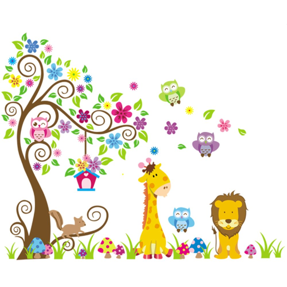 Rainbow Fox Wall Decal jungle forest lion and giraffe , squirrel owl on colorful tree wall stickers for nursery nursery bedroom