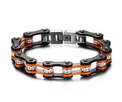 0751909e31570 Joielavie Bracelet pour Homme en Acier Inoxydable avec Strass Diamant  Simulé Chaîne de Vélo Moto Motard