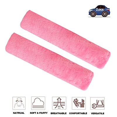 Fochutech 2Pcs Car Soft Plush Seat Belt Shoulder Pad Strap Cover Adjuster Protector Comfortable Driving (Pink): Automotive