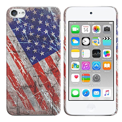 Apple iPod Touch 5 (5th Generation) iPod Touch 6 (6th Generation) Case, FINCIBO Back Cover Hard Plastic Protector Case Stylish Design, Wood Vintage American USA Flag