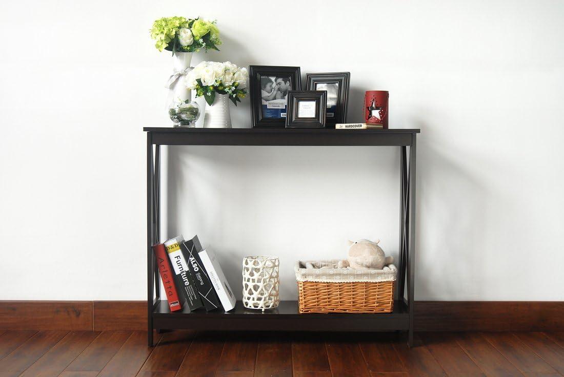 Espresso Finish 2-Tier X-Design Occasional Console Sofa Table Bookshelf