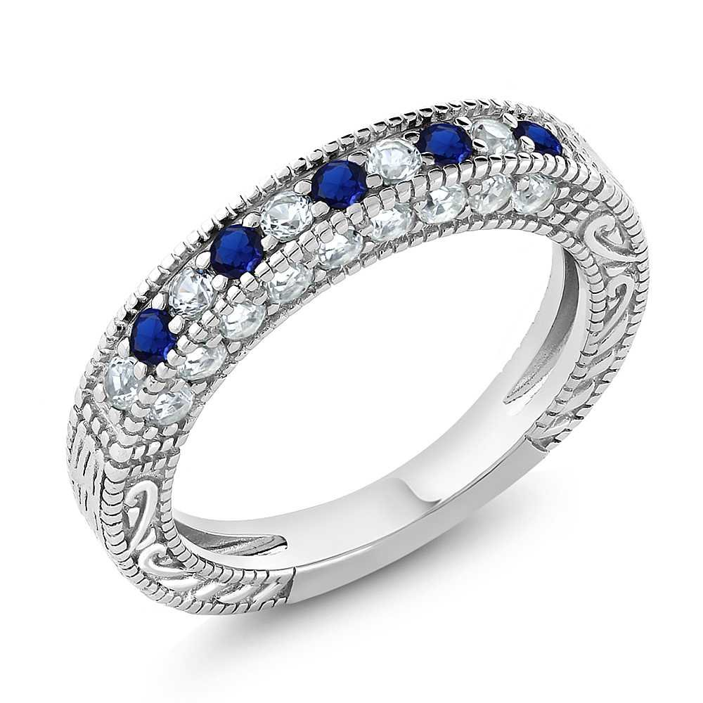 1.00 Ct Blue and White Created Sapphire 925 Sterling Silver Wedding Band Ring (Size 7)