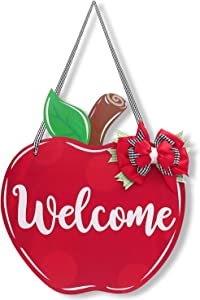 Teacher Appreciation Apple Welcome Door Sign First and Last Day of School Classroom Wooden Front Door Hanger Teacher Appreciation Gift from Student with Pen for Customization.