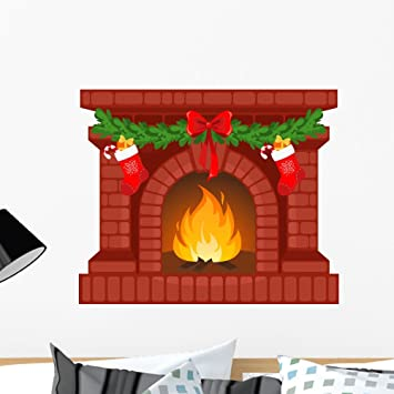 Great Wallmonkeys Christmas Fireplace Wall Decal Peel And Stick Graphic WM146350  (24 In W X 20