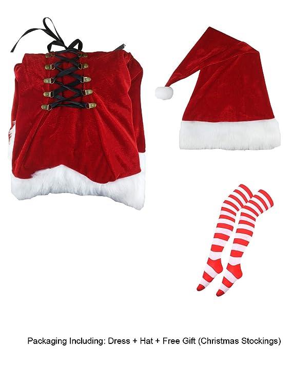 Amazon.com: Disfraz de Papá Noel sexy con sombrero para ...
