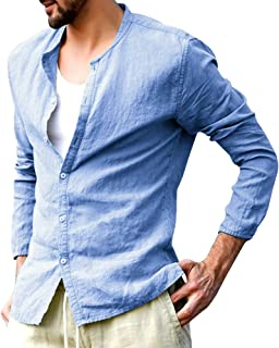9a4e48fe03d Enjoybuy Mens Cotton Linen Banded Collar Casual Shirt Button Down Long  Sleeve Shirts
