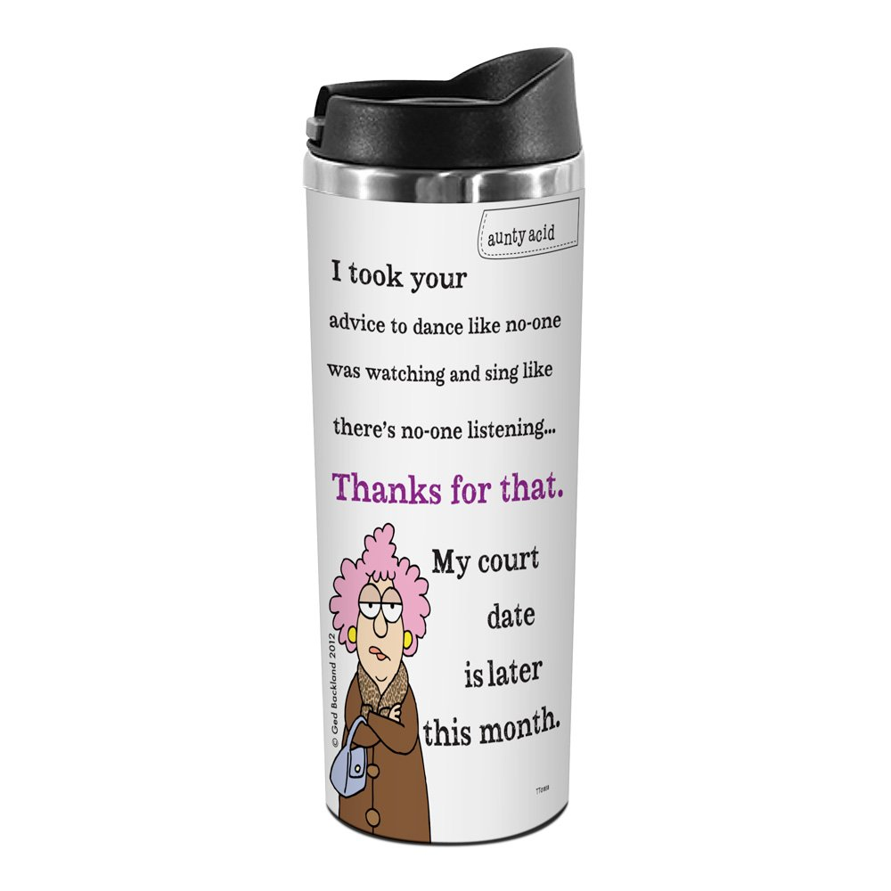 Tree-Free Greetings TT01858 Aunty Acid 18-8 Double Wall Stainless Artful Tumbler, 14-Ounce, Court Date