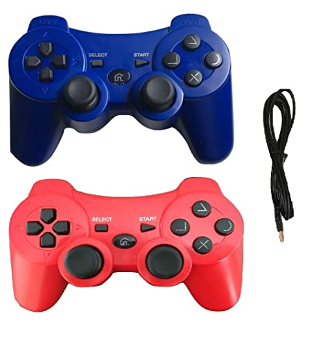 2 pack wireless bluetooth controller with charger cable ( blue and red -  compatible with playstation
