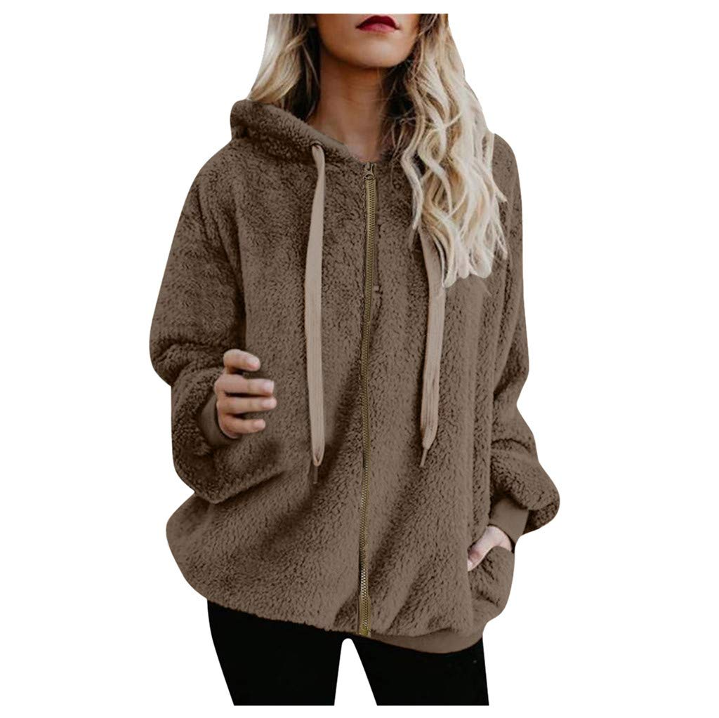 Shusuen Winter 2019 Fashion Womens Fuzzy Casual Loose Sweatshirt Hooded with Pockets Outwear Khaki by Shusuen