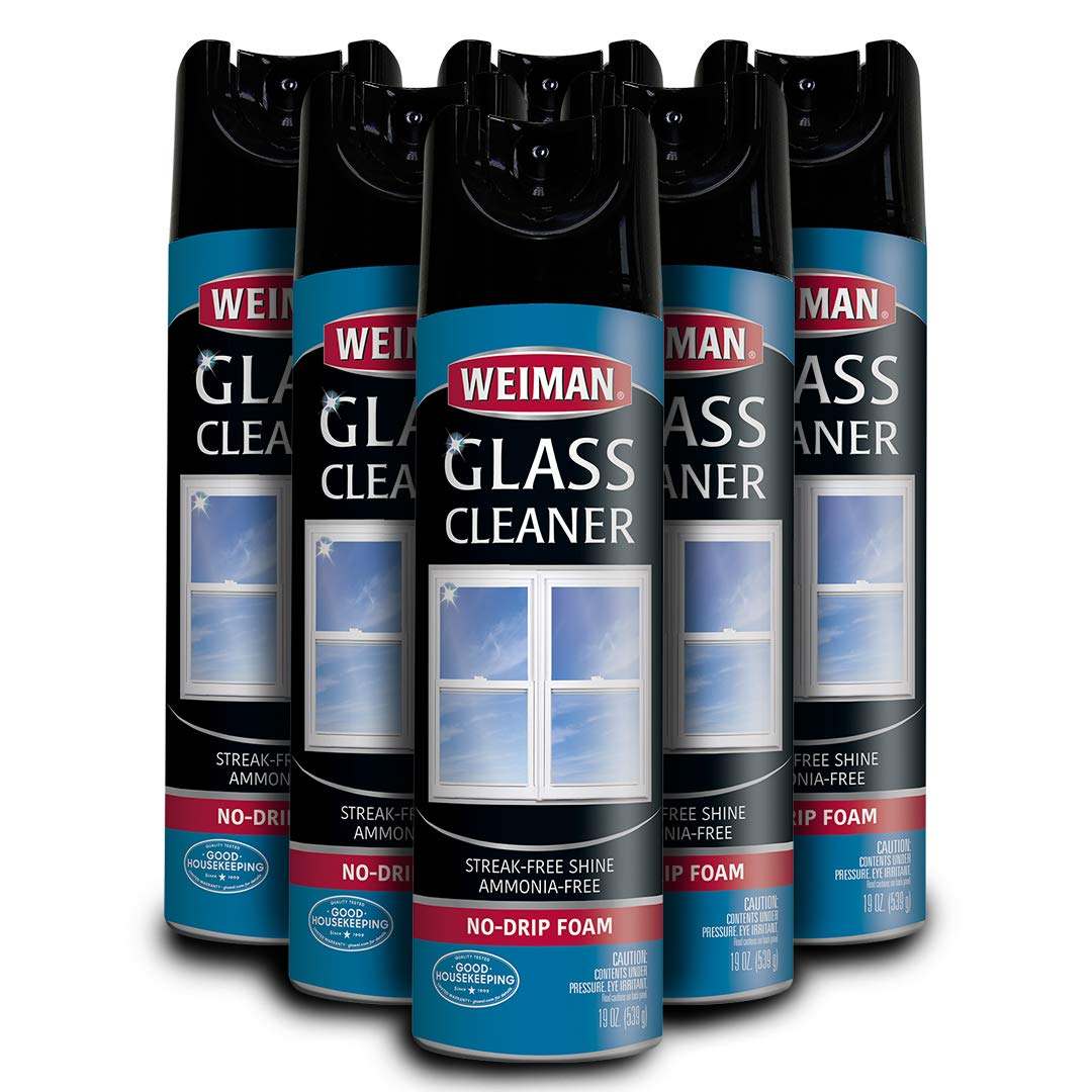 Weiman Glass Cleaner - 19 Ounce [6 Pack] - Non Toxic Professional Streak Free Foaming No Drip Removes Grease Dissolves Fingerprints and Smudges