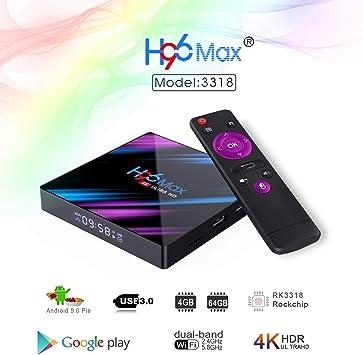 H96 MAX Rockchip RK3318 Quad Core Smart TV Box Android 9.0 OS 4 GB RAM 64 GB ROM 2.4G / 5.0G WiFi-LAN Bluetooth 4.0 4K Android TV Box: Amazon.es: Electrónica