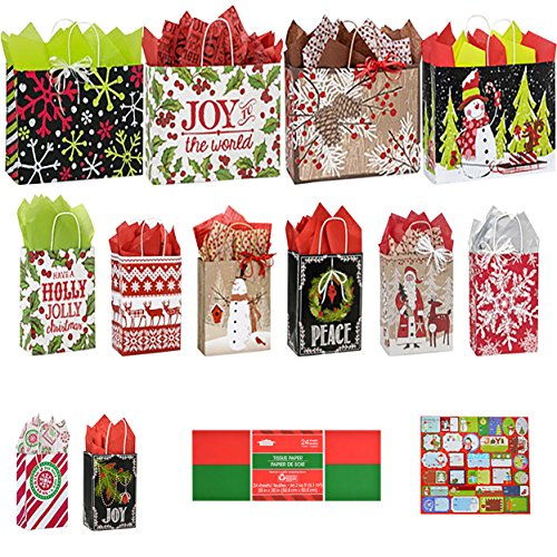 Mega Deluxe Christmas Holiday Gift Bag Set - 2016 EDITION - 12 Kraft Paper Bags, 24 Sheets Tissue Paper Wrap and Assorted Peel and Stick Gift Tags
