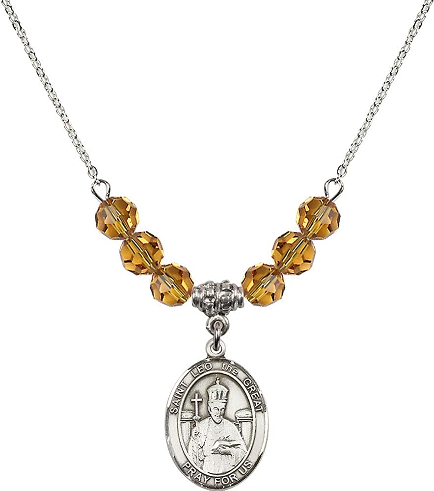 18-Inch Rhodium Plated Necklace with 6mm Topaz Birthstone Beads and Sterling Silver Saint Leo the Great Charm.