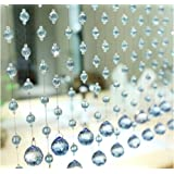"Fushing 5Pcs Crystal Garland Wedding Bead Crystal Ball Pendants Strands For Home Party Wedding Christmas Decoration (59"", Light Blue)"