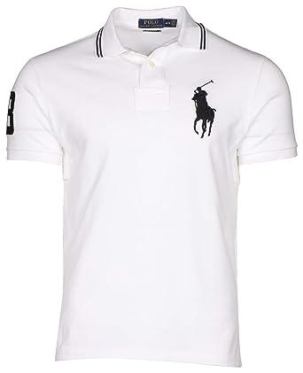 Polo Ralph Lauren Mens Custom Fit Big Pony Logo Polo Shirt (XL, White/