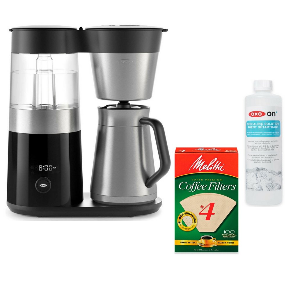 OXO On Barista Brain 9 Cup Coffee Maker (with 100-Count Number 4 Natural Brown Super Premium Coffee Filters and 14 oz. Descaling Solution) by by OXO (Image #1)