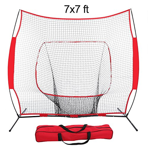 Super Deal 7'×7′ Portable Baseball Softball Net w/Carrying Bag, Metal Bow Frame& Rubber Feet Training Hitting Batting Catching Practice