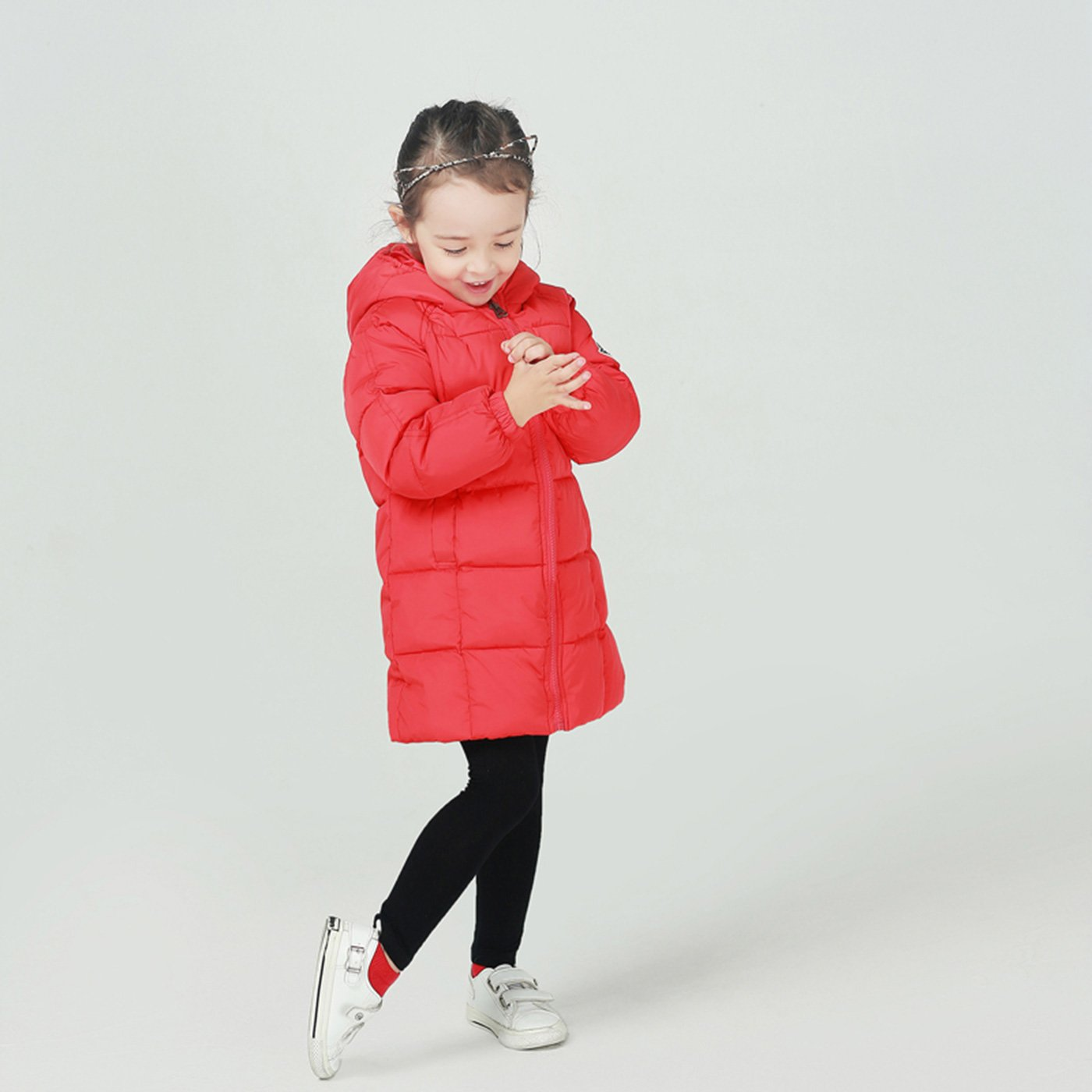 4aed775d7642 Amazon.com  Happy Cherry Baby Girls Long Down Coats Lightweight Outwear Winter  Hooded Jackets 1-8 Years  Clothing