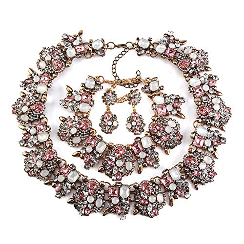 (NABROJ Pink Drag Queen Jewelry Set, Vintage Statement Necklace Bracelet Earrings with Pink Gems Costume Jewelry for Women 1 Set with Gift Box-HLN001 Pink 3pcs Set)