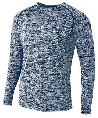 - A4 Mens Long Sleeve Raglan Space Dye, Large, Navy