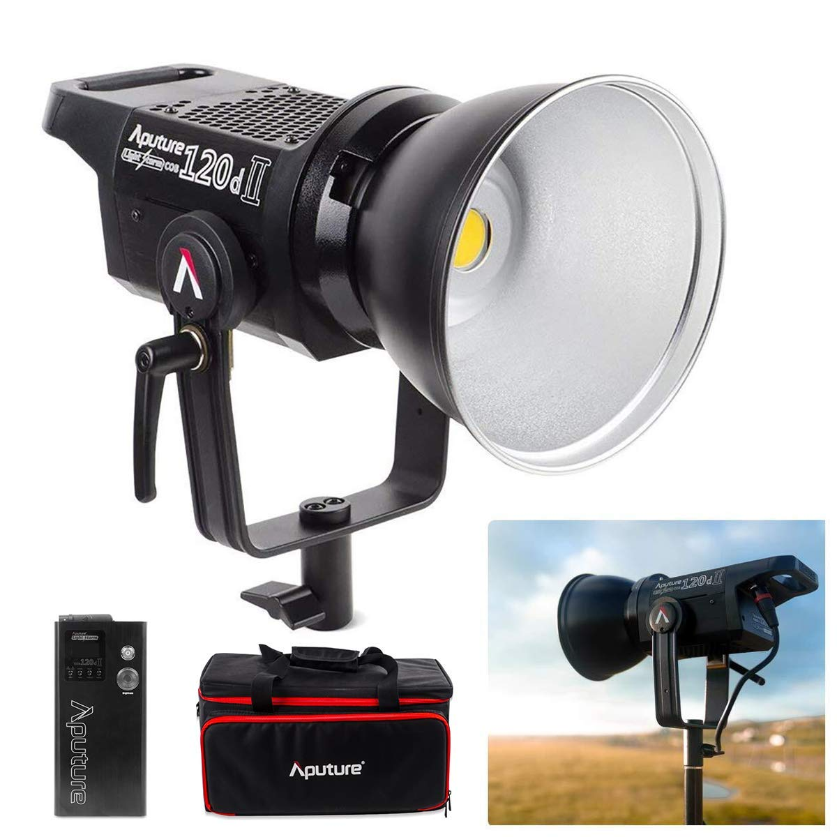 Aputure LS C120d 120D II Updated Daylight 180W LED Continuous V-Mount Video Light Kit CRI96+ TLCI97+ 30,000lux@0.5m Bowens Mount Dual Power Supply 2.4G Remote Control