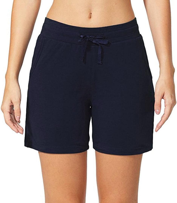 SHOBDW Pantalones Cortos Deportivos de la Cintura elástica de la Moda de Las Mujeres de la Moda Pantalones Casuales Pantalones Cortos de la Playa del Deporte Pantalones