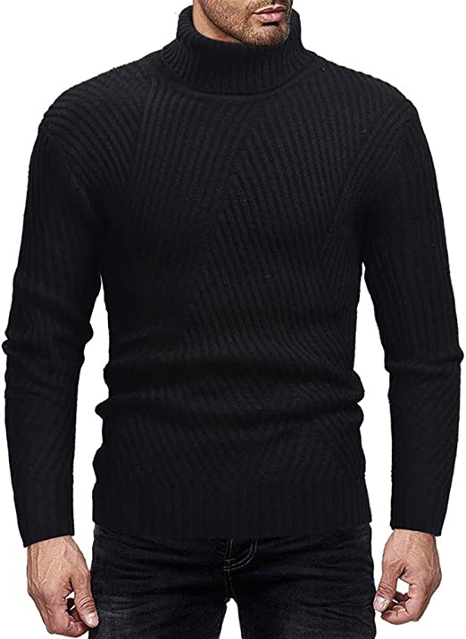 Nicelly Mens Solid Color Winter Basic Warm Top Pullover Sweater