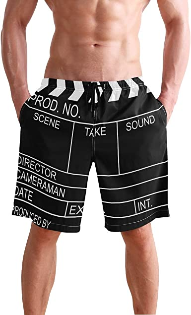 JECERY Mens Swim Trunks Black Movie Clapboard Quick Dry Board Shorts with Drawstring and Pockets