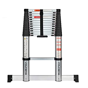 Telescoping Ladder with Stabilizer Bar,Slow Down Design 12.5FT Aluminum Telescopic Extension Step Ladder,EN131 Certified Multi-Purpose Extendable Ladder for Household Daily or Hobbies,330 Lb Capacity…