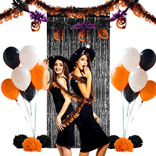 Halloween Pumpkin Themed Party Decoration Complete Set - Tinsel Garlands, Latex Balloons, Paper Pompoms, Fringe Curtain (1, Pumpkin) - Black White Costumes Themed Party