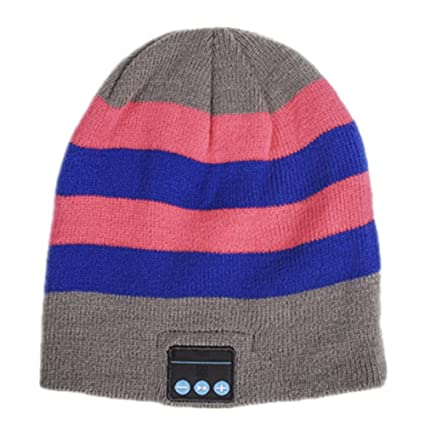 54bd30c01ae Ocamo Adult Unisex Hat Wireless Bluetooth Headset for Phone and Music Warm  Striped Knitwear Beanie Gray-Blue Pink  Buy Ocamo Adult Unisex Hat Wireless  ...