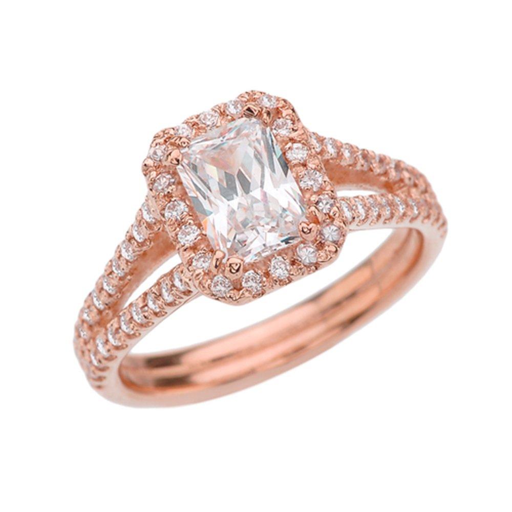 14k Rose Gold Fine Emerald Cut CZ Center Stone With Diamonds Halo Bridal Ring (Size 11)