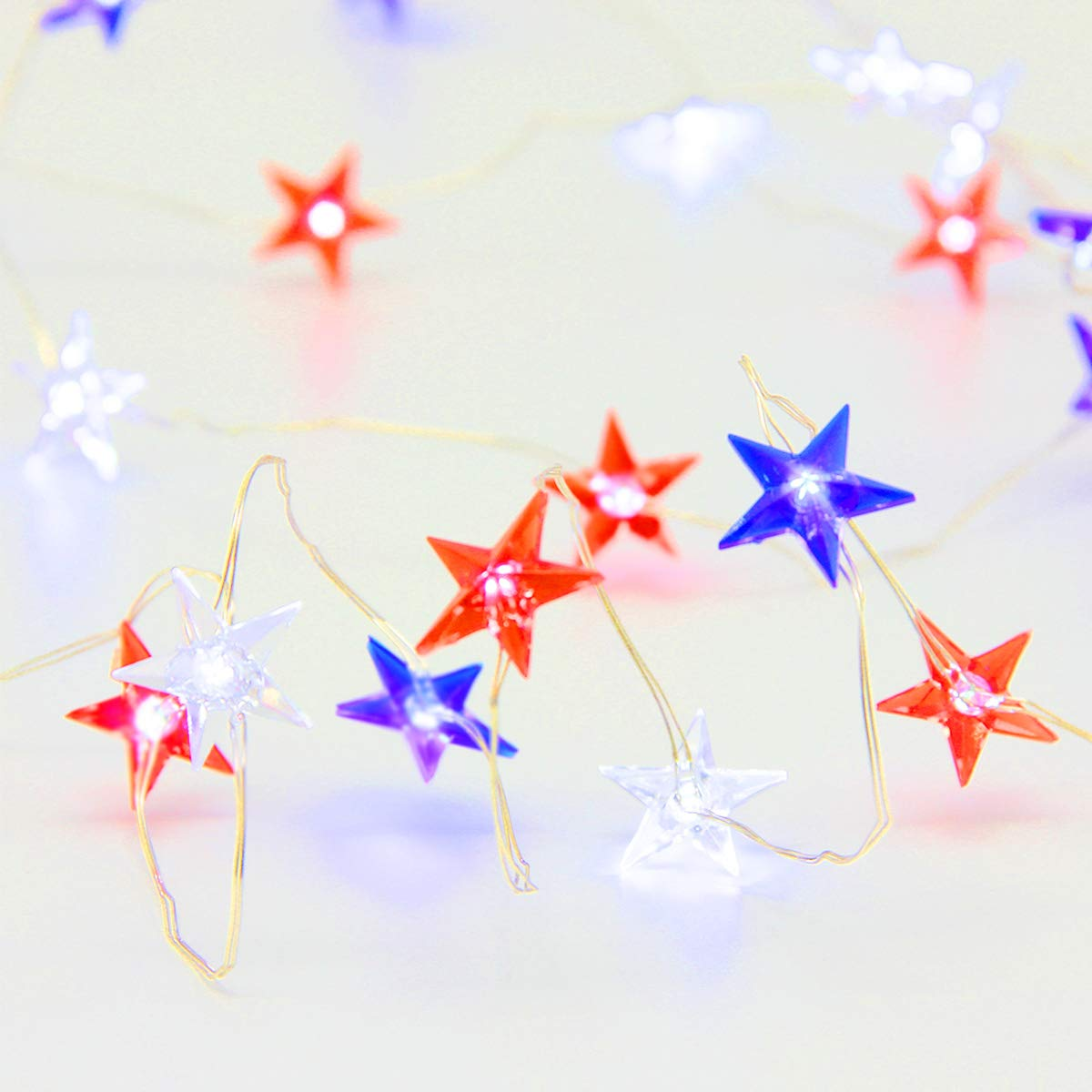 Independence Day Decor LED Light, USA American Stars Flag Lighting for July 4th, Red White Blue String Lights Battery 10ft 40 LEDs with Remote, Patriotic Decoration for Memorial Day, Festival, Party