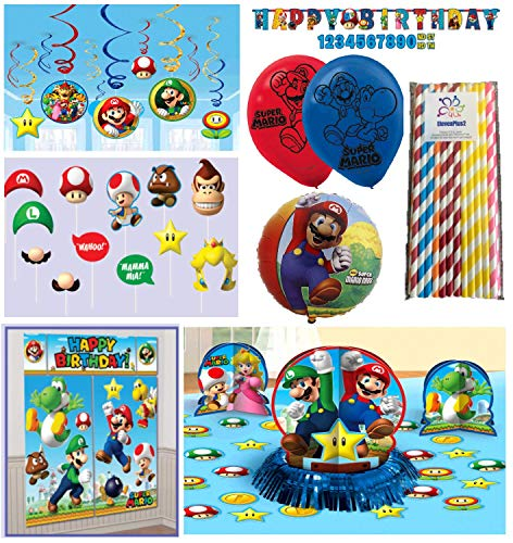 (Super Mario Bros Birthday Party Package Decorating Kit - Scene Setter with Props, Table Centerpiece, Banner, Balloons and ElevenPlus2 straws)