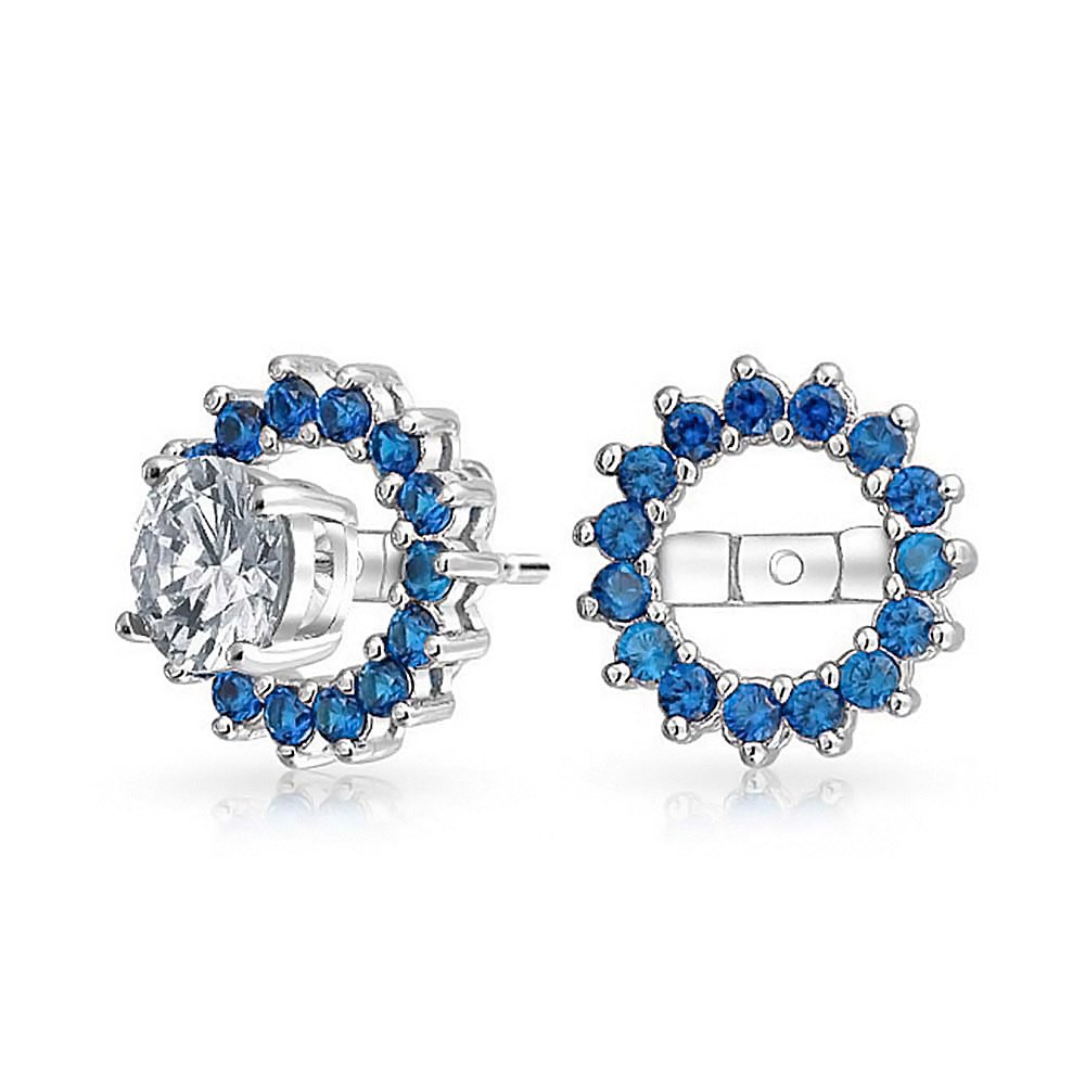 Simulated Sapphire CZ Halo Earring Jackets Sterling Silver