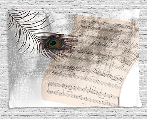 Ambesonne Peacock Decor Collection, Old Music Notes Sheet Texture with Peacock Feather Evil Eye on Antique Style Musical Theme, Bedroom Living Room Dorm Wall Hanging Tapestry, 80 X 60 Inches, Beige