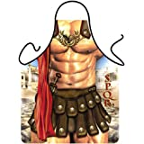 G2PLUS New Hot Man Sexy Kitchen Apron Men's Funny Kitchen Apron Creative Cooking Grilling Baking Aprons for Gifts (1PC Roman Warrior)