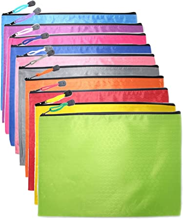 10Pcs A4 Mesh Zipper Pouch Zip File Bag Document Folder Office Stationery 5 Ass