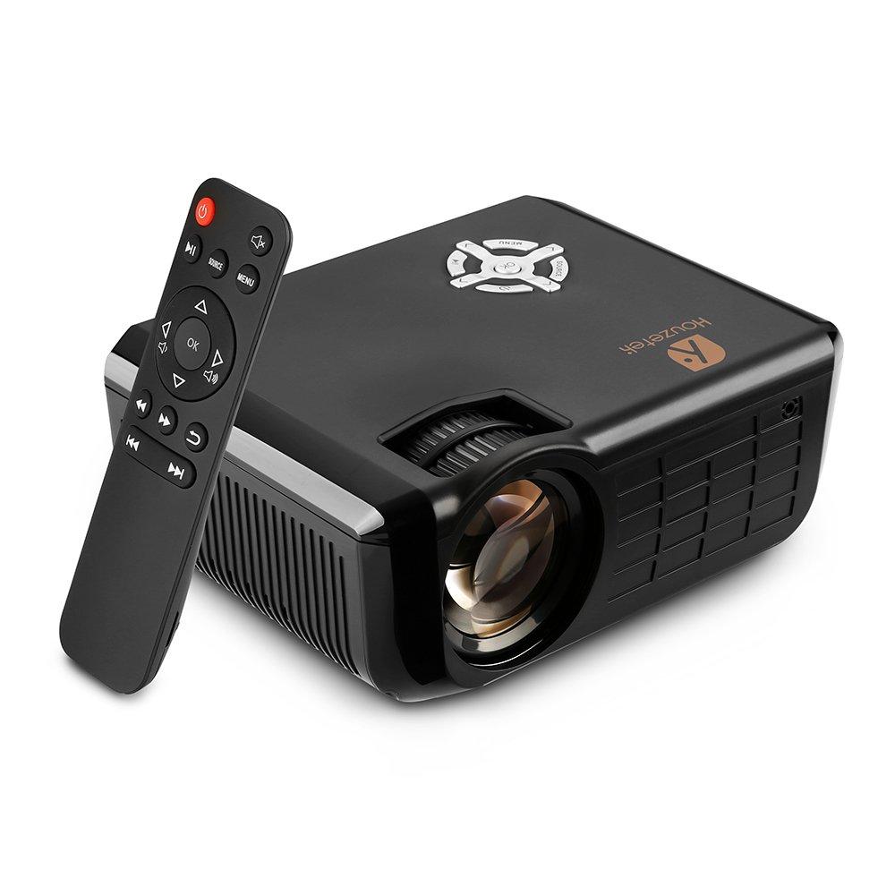 Video Projector, Houzetek 1800 Lumens HD Multimedia Home Theater Video Projector Support 1080p HDMI USB SD Card VGA AV for Home Cinema TV