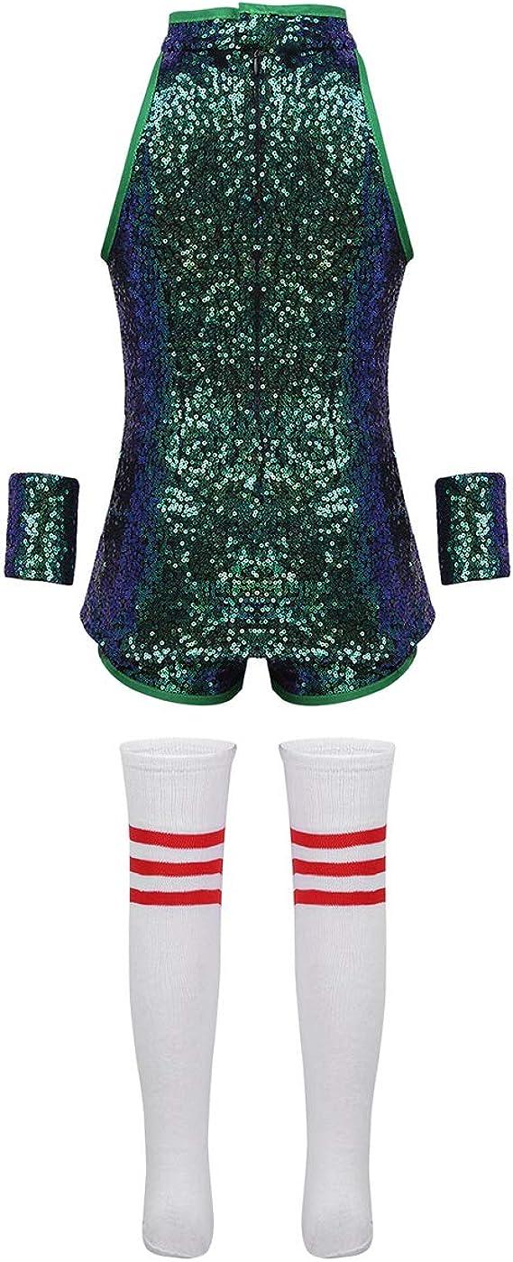 Street Dance Wear Costume Girls Sequins Kids Hip Hop Jumpsuit Jazz Shiny Dress