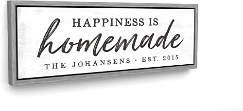 Pretty Perfect Studio Custom Happiness is Homemade Sign   Personalized Family Name Wall Art   20×60 Grey Framed