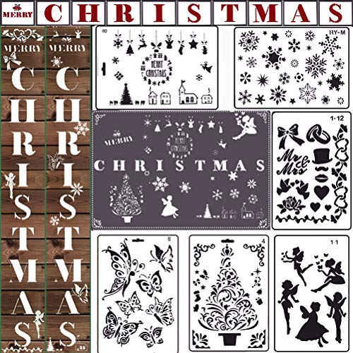 MX-Amigo Merry Christmas Stencils Snowflake Fairy Butterfly Tree for Painting on Wood Sign Holiday Reusable Plastic Large Christmas Word Stencils for Drawing Crafts Tree Wall Door Window Glass Porch (Holiday Furniture)