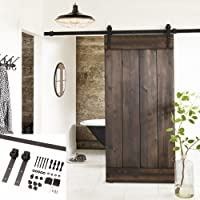 Attrayant Erfect 6.6 FT Brown Basic Wood Barn Door Steel Antique Style Sliding  Hardware Track Set Coffee