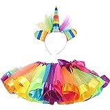 MFEU Conjunto de Faldas de Arco Iris para Pettiskirt, Conjunto de tutú de Arcoiris, Diadema de Unicornio, Conjunto de Disfraces para la Fiesta de Baile de Carnaval