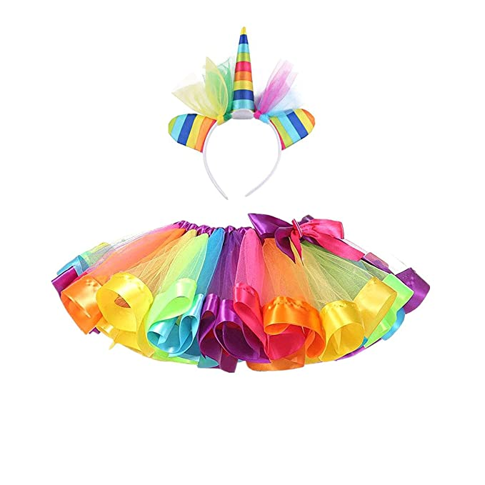 078427cf0 DIXIUZA Disfraz para Niñas Diadema Unicornio Floral con Oreja y Falda Tutú  Vestido de Arco Iris Disfraz