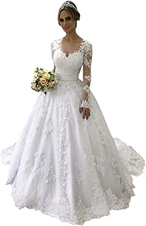 Amazon Com Mojing Women S Vintage Lace Wedding Dresses For Bride With Long Sleeves Bridal Dress Wedding Gowns For Women Clothing