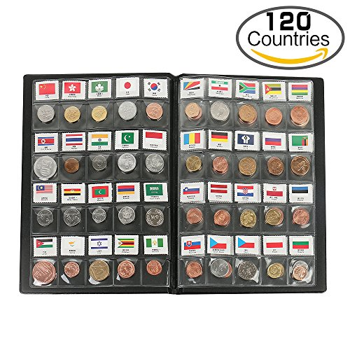 Classic Gifts 120 Countries Coins Collection Starter Kit Authentic Coins 100% Original Genuine World Coin with Leather Collecting Album Taged by Country Name And Flag