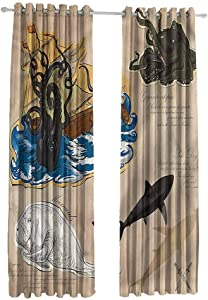 Blackout Curtains for Living Room-with Beautiful PatternsCurtains for Living Room Waves Lines Swirls W84 x L107 Set of 2 Panels